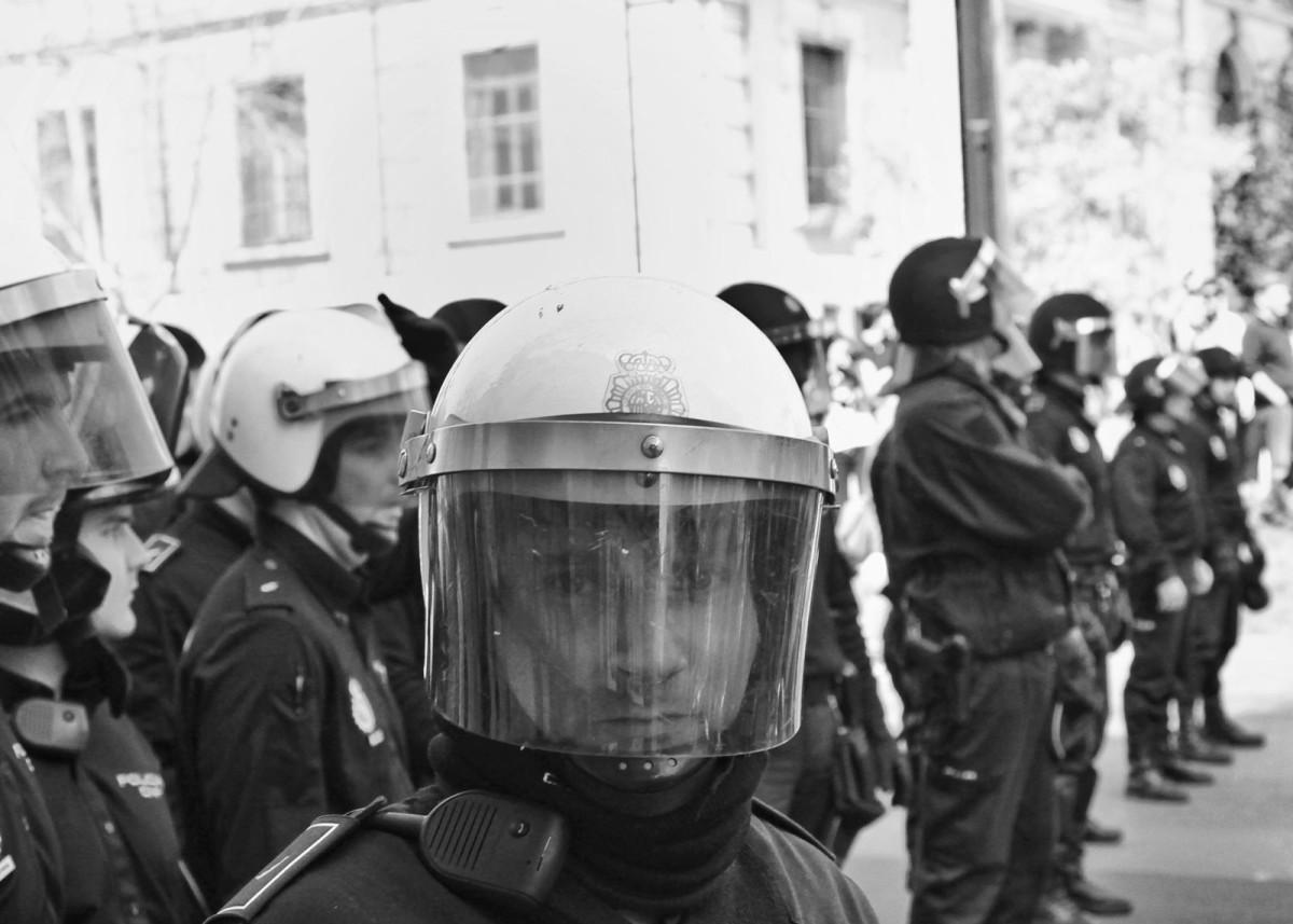 Photojournalism anti riot police